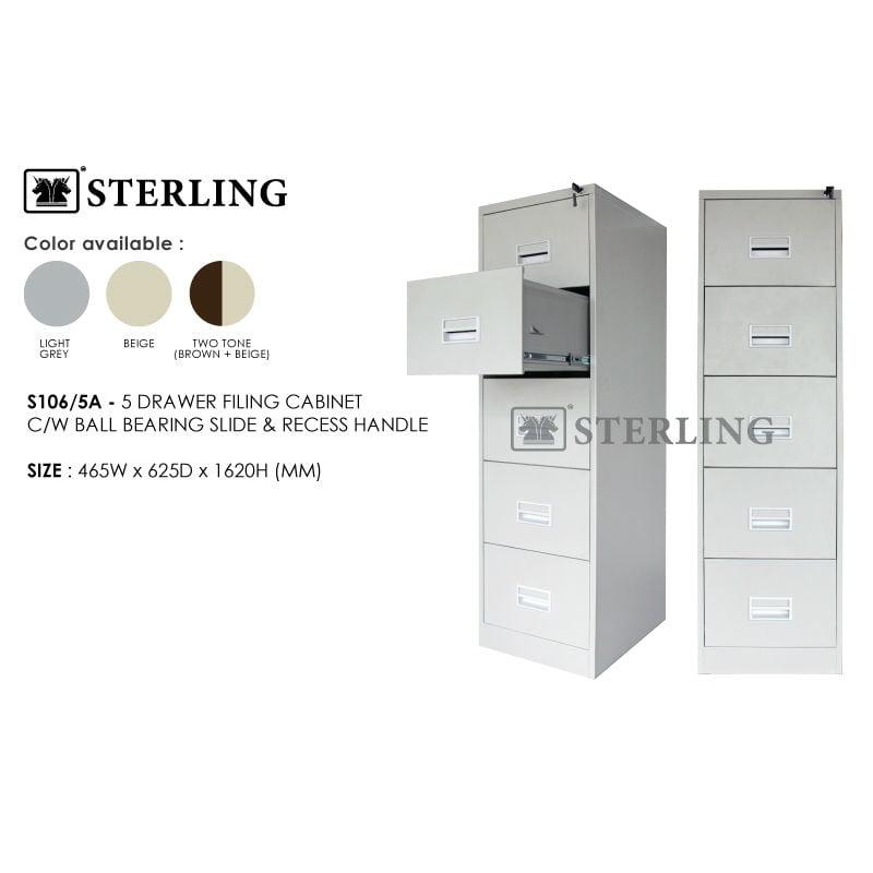 S106/5A 5 Drawer Metal Filing Cabinet